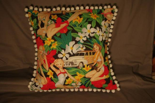 Aloha Girls Black Retro Cushion