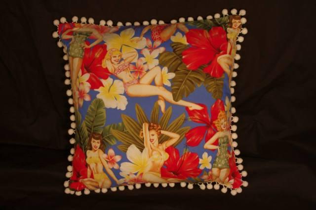 Hawaiian Paradise Pin Up Retro Cushion