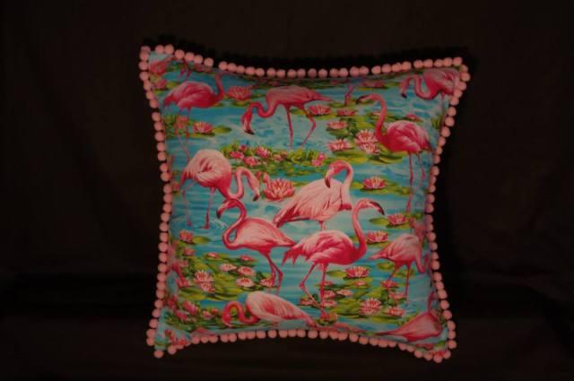 Lily Ponds and Flamingos Retro Cushion