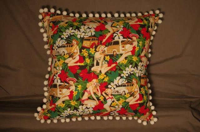 Mahalo Girls Black Retro Cushion