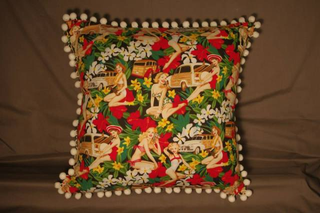 Mahalo Girls Black Retro Cushion