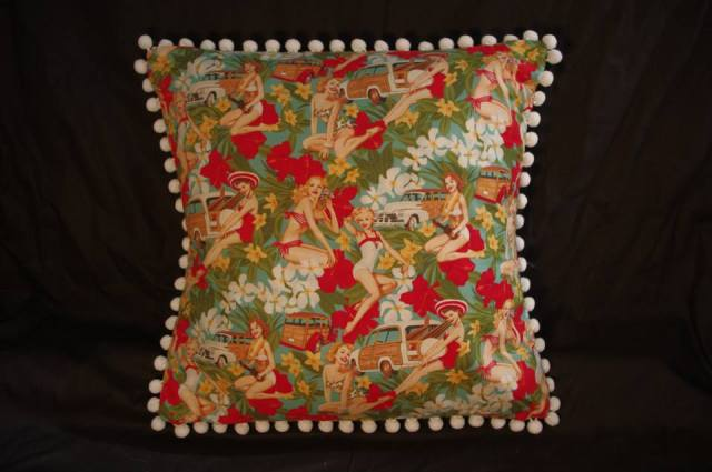 Mahalo Girls Green Retro Cushion