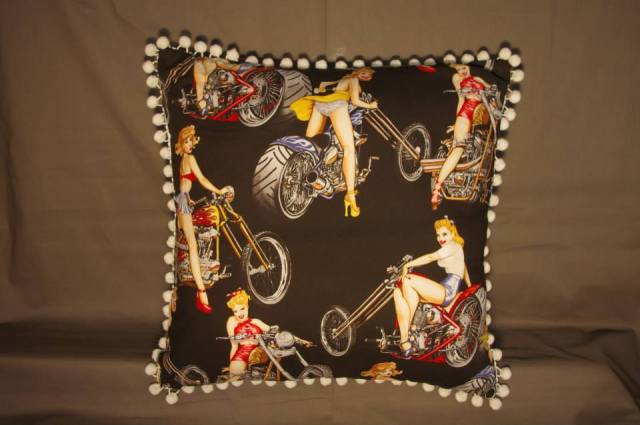 Black Motorbike Retro Cushion with Pin-Up Girls