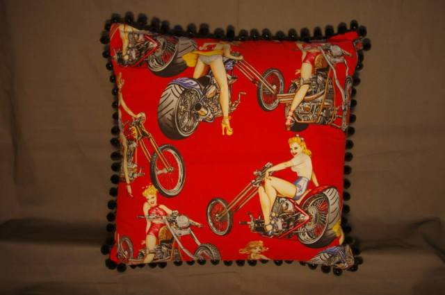 Red Motorbike Retro Cushion with Pin-Up Girls