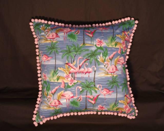 Paradise Island Blue Retro Cushion with Flamingos