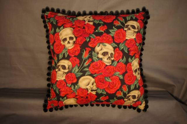 Skulls and Roses Red Retro Cushion