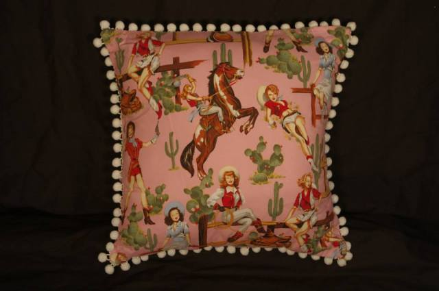 Cowgirl Pin Up Pink Retro Cushion