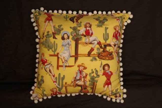 Cowgirl Pin Up Yellow Retro Cushion