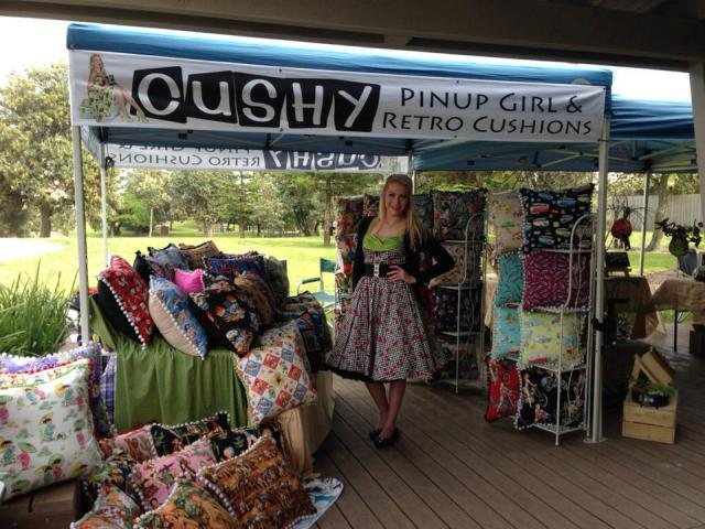 Cushy stall pinup girl retro cushions