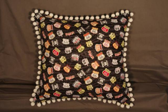 Route 66 Black Retro Cushions